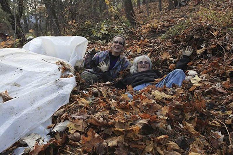 Volunteers playing in the leaves